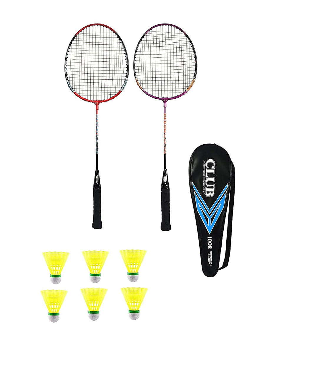 Toyshine Club 2 pcs Badminton Rackets with 1 Cover and 6 Shuttles (SSTP)