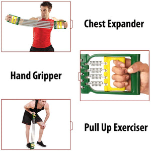 Toyshine 3 in 1 Chest Expander Spring for Men, Inbuilt Hand Gripper, Exerciser with 5 Detachable Springs for Home