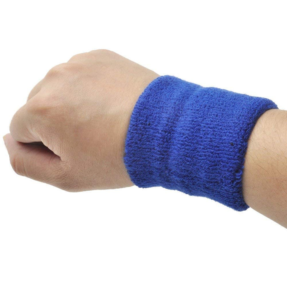 Toyshine Thick Cotton Wristbands, Athletic Sweat Bands for Sports Activities, Pack of 5 Pairs (SSTP)