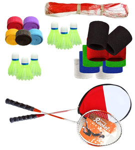 Toyshine Badminton Combo - 2 Badminton Rackets,6 Shuttles, 5 Grips, 1 Badminton Net and 5 Pair Wrist Bands (SSTP)