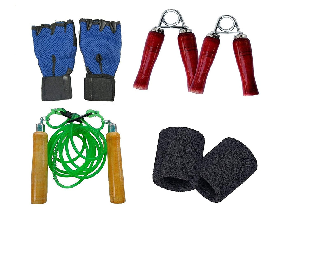 Toyshine Fitness Combo -1 Pair of Gloves, 2 Pc Hand Gripper, 1 Skipping Rope and 1 Pair of Wristband (SSTP)