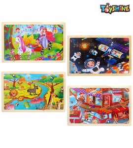 toyshine wooden jigsaw puzzles set for kids ages 2-6, 24 piece jigsaw puzzles for toddlers preschool kids, 4 pack creativity children theme learning educational puzzle set for boys and girls- Multi color