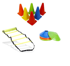 Toyshine Fitness Combo - 6 pc Stacking Cones, 10 Pc Space Markers and 1 Pc Agility Ladder (SSTP)