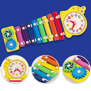 Toyshine Animal Shaped Xylophone with 2 Mallets Toy Set for Babies, Multi Color, Design May Vary