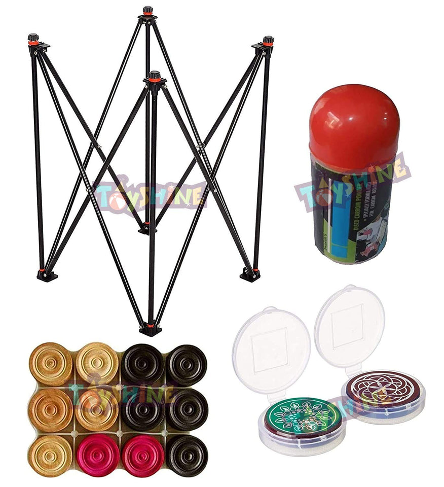 Toyshine Carrom Accessory Combo Set-(1Carrom Stand ,1 Set of Coins , 2 Striker and 1 Powder) (SSTP)