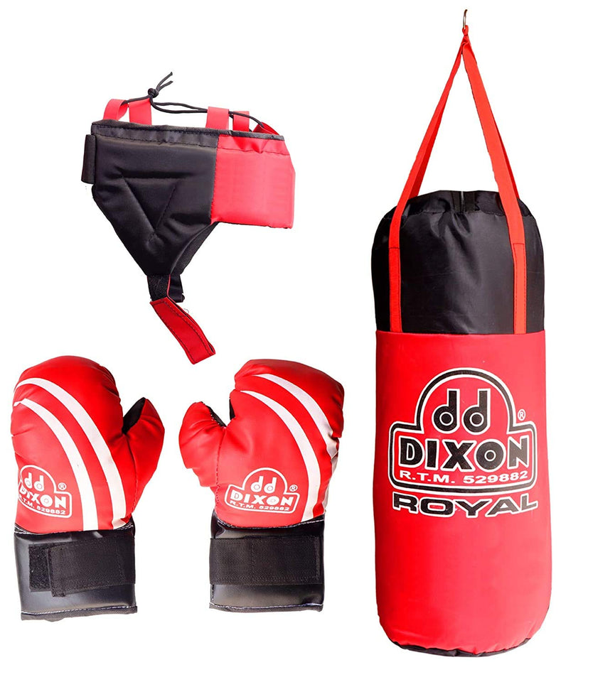 Toyshine Boxing Kit with Gloves and Head Guard, 48 Cms, Filled with Cotton, 5-9 Year, Red (SSTP)