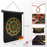 Toyshine Magnetic Dart Board, 15 Double-Sided Magnetic Dart Game Set with 6 Magnetic Darts Safety, Indoor Outdoor Games Office Sport Leisure Board Games for Adults Kids- Multi Color (SSTP)