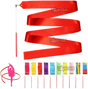 Toyshine Dance Ribbons Streamer - 12.5Ft Approx Unisex Kids' Gymnastics Ribbon Wands - Perfect Rhythm Stick for Talent Shows, Artistic Dancing, Baton Twirling (2 PC) Color May Vary