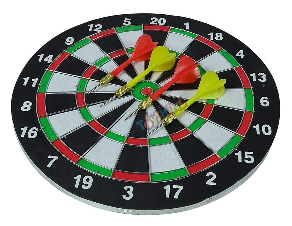 Toyshine Wooden Double Sided 12 inch Dart Board Family Game Set with 4 Steel Tip Needle for Kids and Adults (SSTP)