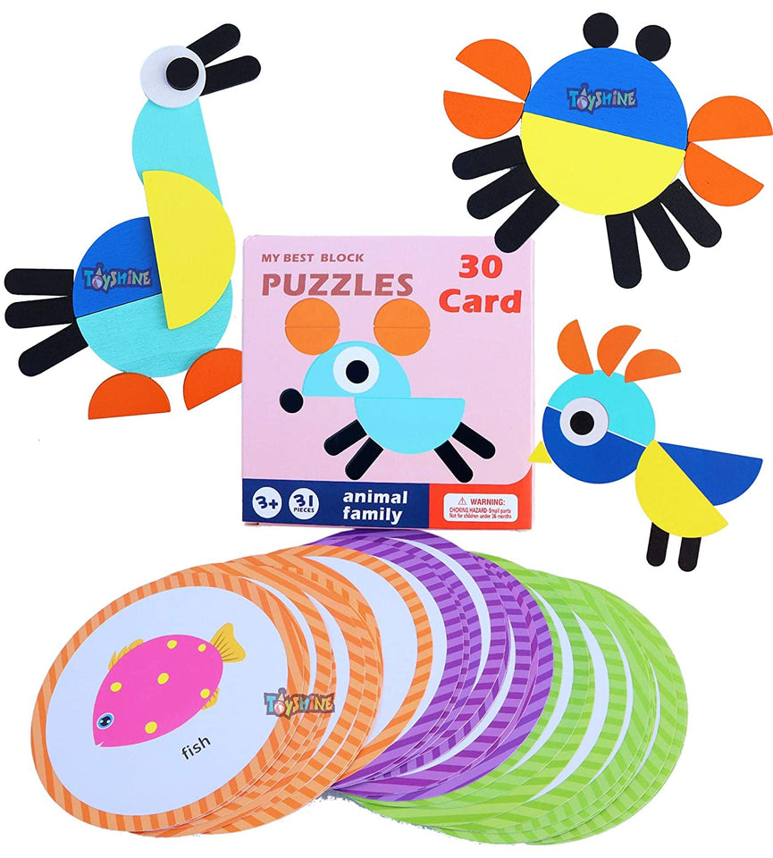 Toyshine My First Blocks Wooden Animals Puzzles with 30 Shape Cards, Jigsaw Puzzles, Sorting and Stacking Games Montessori Educational Toys for Toddlers Kids Boys Girls Age 3+ Years Old