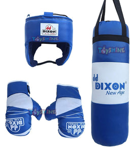 Toyshine Dixon Kids Polyester Boxing Kit (Blue) with Gloves and Head Guard, Medium (18 Inches, 3-4 Years) (SSTP)