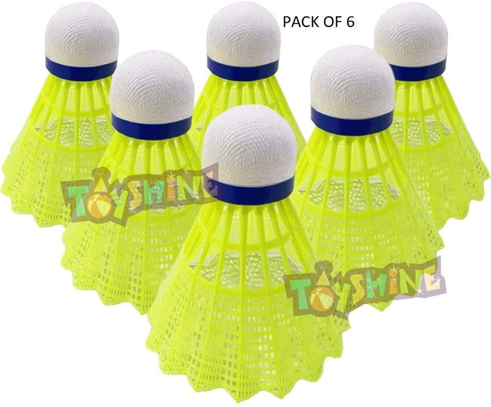 Toyshine Nylon Badminton Shuttlecocks, Stable and Sturdy Shuttles (Pack of 6) (SSTP)