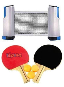 Toyshine Table Tennis Combo - Two Racket with Three Ball and One Adjustable & Foldable TT Net - Multicolor (SSTP)