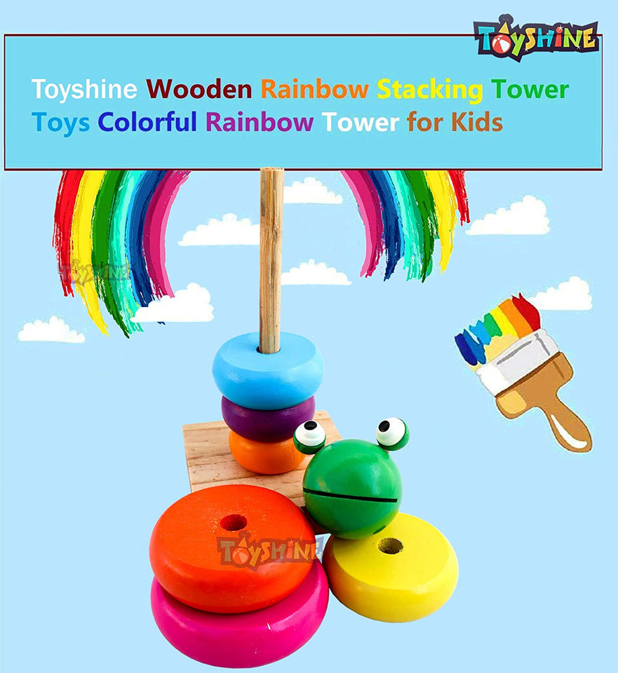 Toyshine Wooden Toy Stacker with Multiple Coloful Stacking Rings, Shapes Learning Educational Toy for 2 3 4 Year Kids, Assorted Animal Shapes