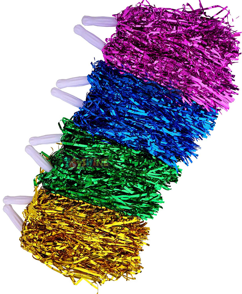 Toyshine Pom Poms Humanized Handle for Cheerleading, Sport Team Spirit & Dance (4 Pair) Color as per Availability (SSTP)