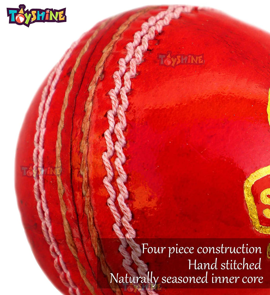 Toyshine Super Test, English Leather Cricket Season Ball, Pack of 2, Color as per Availability (SSTP)