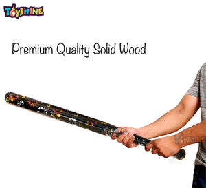 Toyshine Wooden Printed Baseball Solid Bat, (33 inches), for Outdoor Game, Color as per Availability (SSTP)