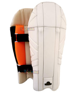 Toyshine PU Leather Cricket Sports Wicket Keeping Pads, White (SSTP)