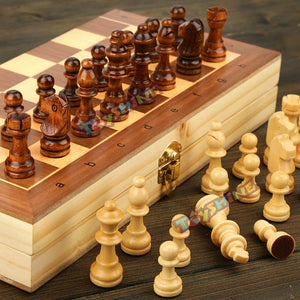 Toyshine Wooden Folding 15 x15 inches Handmade Chess Board with Pieces (SSTP)