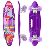 Toyshine Complete Skateboard with Colorful LED Light up Wheels for Beginners, Purple Color