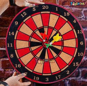 Toyshine Real Cork Wooden Double Sided 15 Inch Dart Board Family Game Set with 3 Steel Tip Needle for Kids and Adults- Multi Color (SSTP)