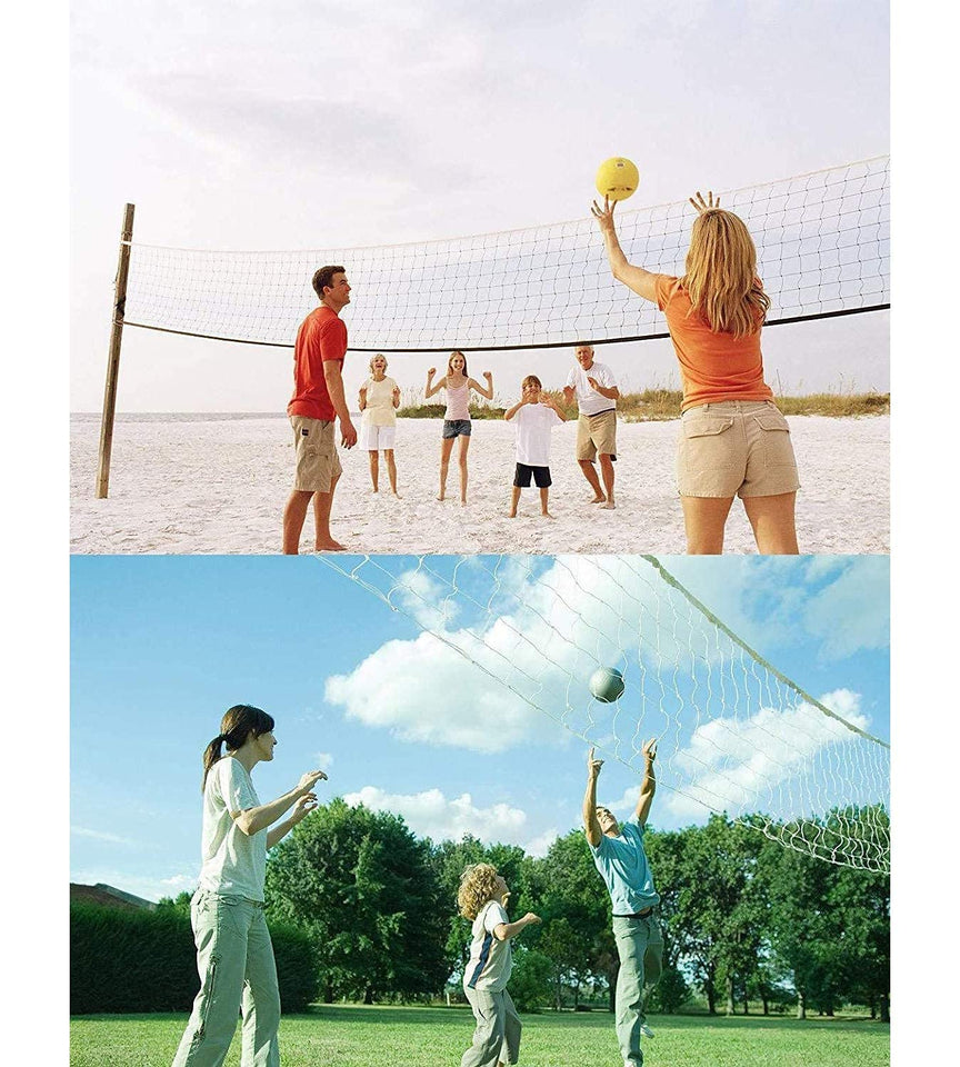 Toyshine Volleyball Net and Ball Combo | Professional D-Lite PU Leather Bladerless Volleyball and Heavy 4 Sided Tetron Niwar Net, SSTP