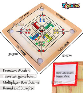 Toyshine Big Size Wooden Carrom Board with Ludo (50cms , MID SIZE) |Coins, Stricker, Powder and Ludo Coins Included (SSTP)