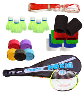 Toyshine Dixon (Corsa) Badminton Combo - 2 Rackets, 6 Shuttles, 5 Grips, 1 Badminton Net and 5 Pairs of Wrist Bands (SSTP)