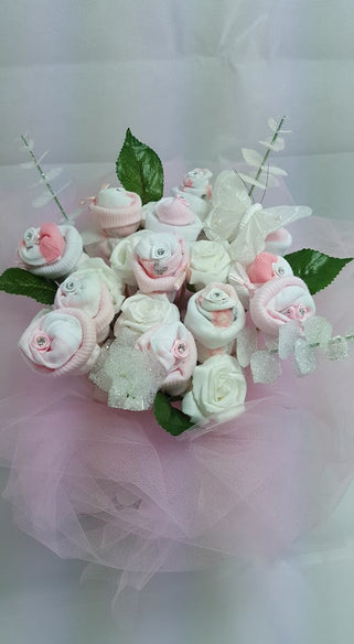 Pretty in pink floral sock bouquet nappy boutique by aimee pretty in pink floral sock bouquet mightylinksfo