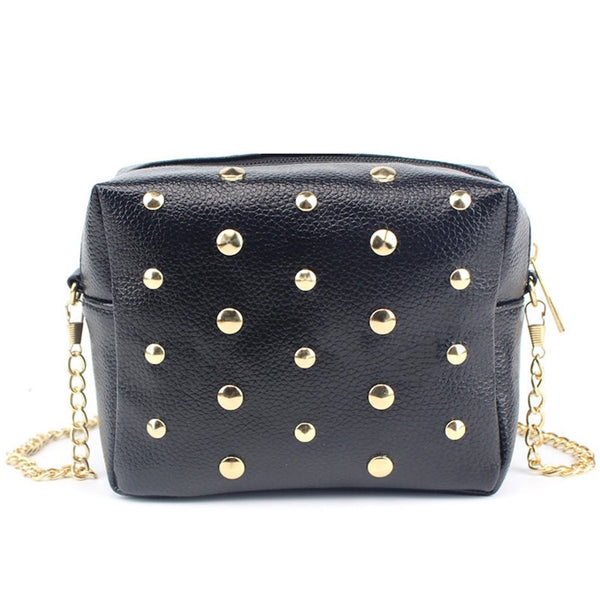 Golden Rivets Rectangle Sling Bag