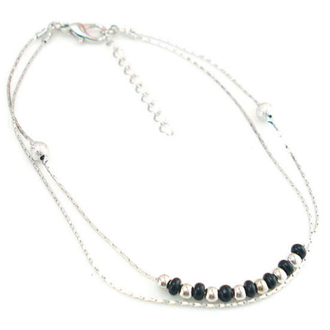 Black & Silver Beaded Layered Anklet