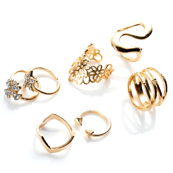 Snake & Flower Rings Set
