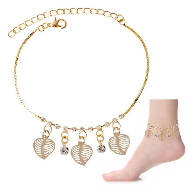 Crystal & Big Leaves Dangle Charms Anklet