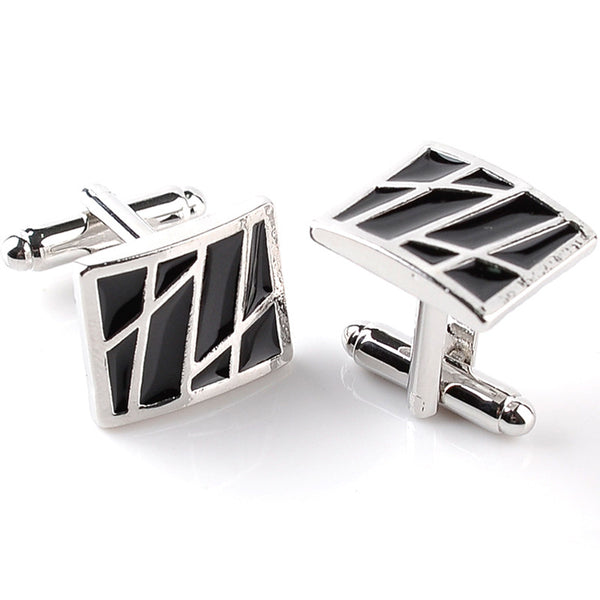 Black Enamel Abstract Lines Design Cufflinks
