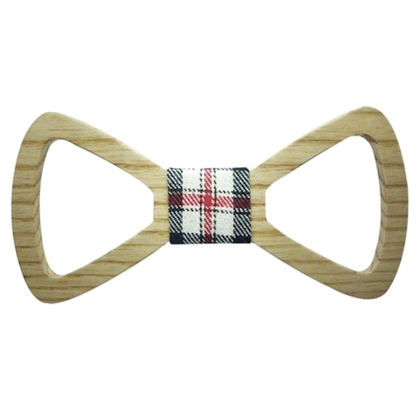 Red/Black/White Checks Wooden Bowtie