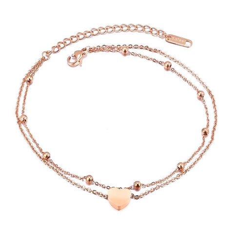 Sweet Heart Double Layer Anklet