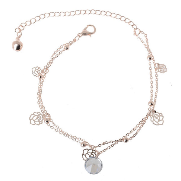 Crystal & Rose Dangling Charms Anklet