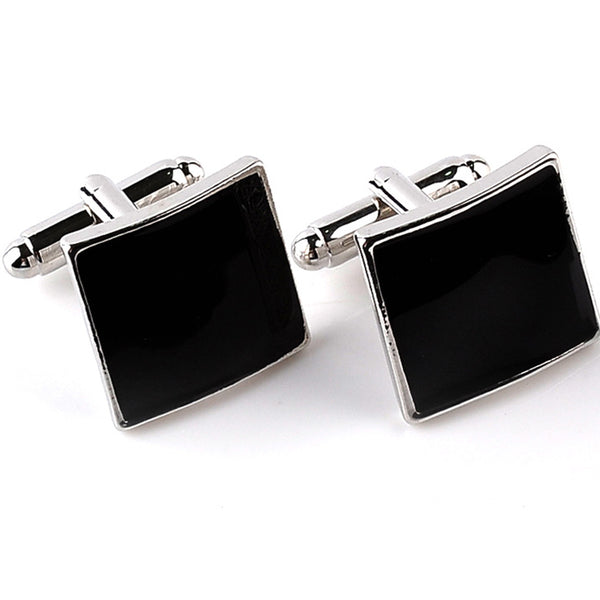 Square Black Enamel Cufflinks