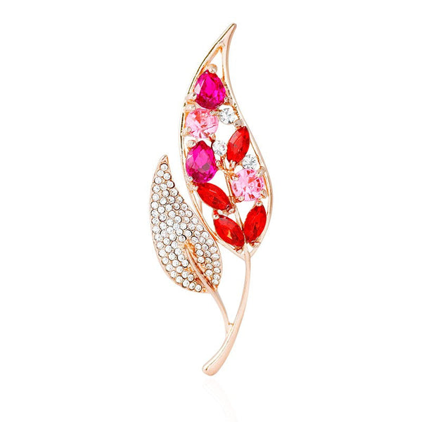 Rhinestone Studded Leaf Brooch