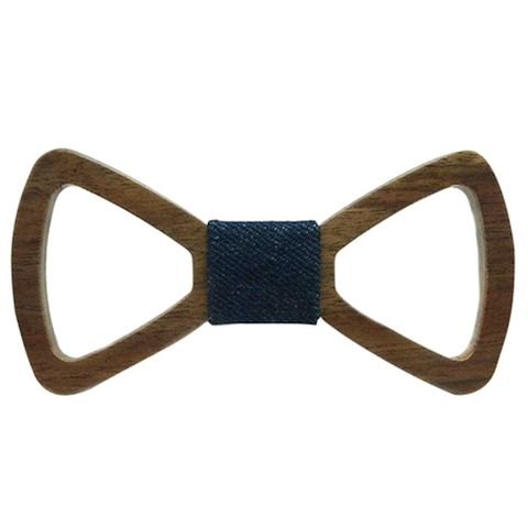 Blue Denim Centered Wooden Bowtie