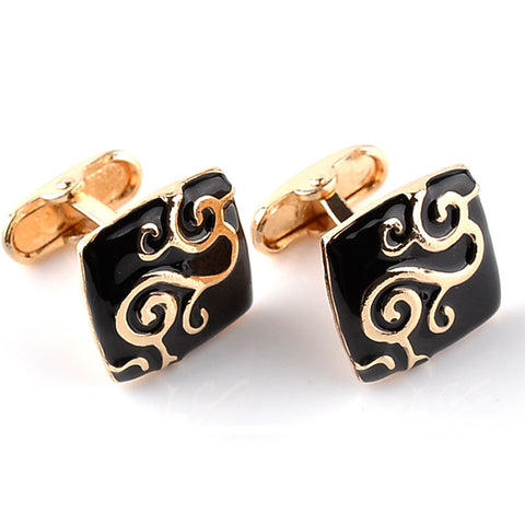 Swirl Pattern Black Enamel Cufflinks