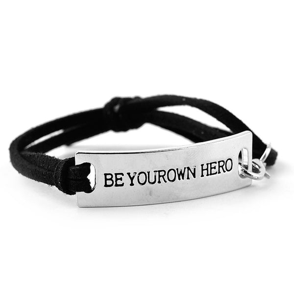 BE YOUR OWN HERO Inspirational Leather Bracelet
