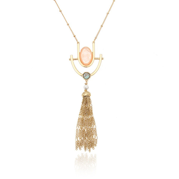 Mosaic Tassel Oval Stone Necklace