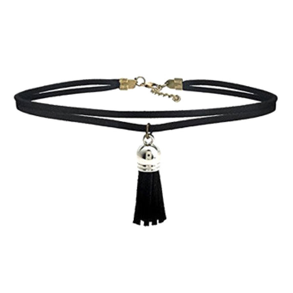 Black Tassel Pendant Choker Necklace
