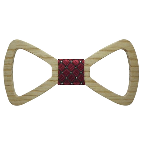 Silver Dots on Red Centred Wooden Bowtie