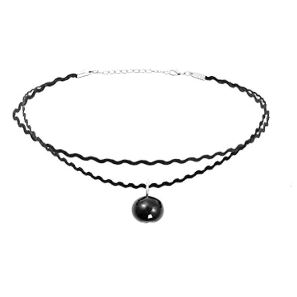 Black Pearl Pendant Zigzag Choker Necklace