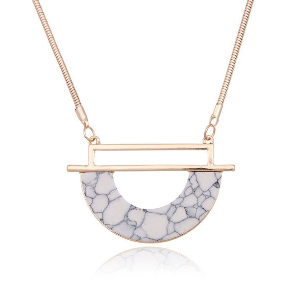 Semi Circle Marble Pendant Necklace