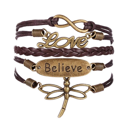 Love Believe Dragonfly Multilayer Wristband