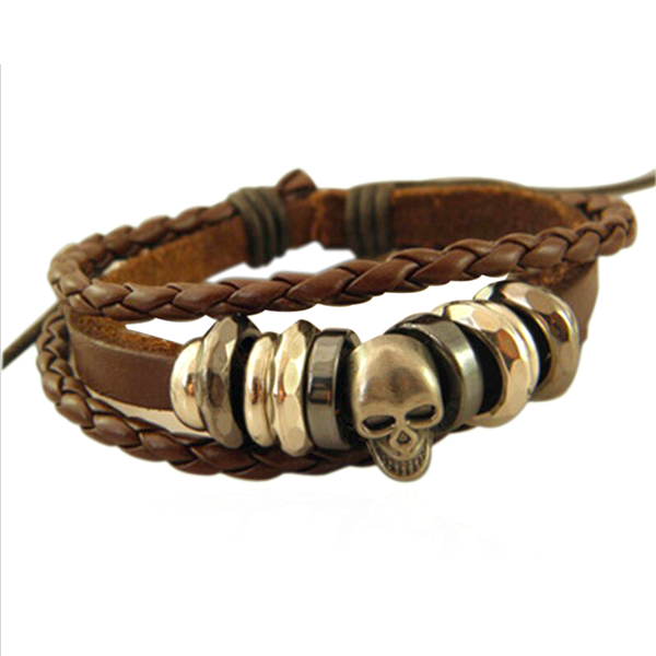Rock Skull Braided Leather Bracelet