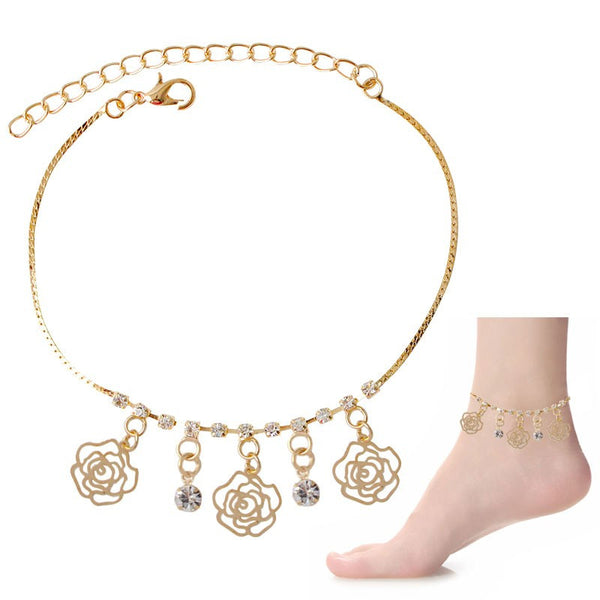 Crystal & Rose Dangle Charms Anklet